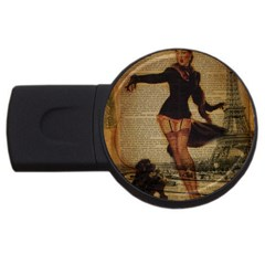 Paris Lady And French Poodle Vintage Newspaper Print Sexy Hot Gil Elvgren Pin Up Girl Paris Eiffel T 2gb Usb Flash Drive (round)