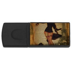 Paris Lady And French Poodle Vintage Newspaper Print Sexy Hot Gil Elvgren Pin Up Girl Paris Eiffel T 1GB USB Flash Drive (Rectangle)