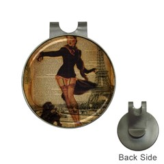 Paris Lady And French Poodle Vintage Newspaper Print Sexy Hot Gil Elvgren Pin Up Girl Paris Eiffel T Hat Clip with Golf Ball Marker