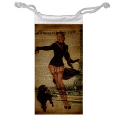 Paris Lady And French Poodle Vintage Newspaper Print Sexy Hot Gil Elvgren Pin Up Girl Paris Eiffel T Jewelry Bag