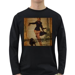 Paris Lady And French Poodle Vintage Newspaper Print Sexy Hot Gil Elvgren Pin Up Girl Paris Eiffel T Mens' Long Sleeve T Shirt (dark Colored)