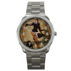 Paris Lady And French Poodle Vintage Newspaper Print Sexy Hot Gil Elvgren Pin Up Girl Paris Eiffel T Sport Metal Watch