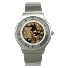 Paris Lady And French Poodle Vintage Newspaper Print Sexy Hot Gil Elvgren Pin Up Girl Paris Eiffel T Stainless Steel Watch (Unisex)