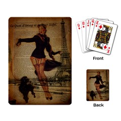 Paris Lady And French Poodle Vintage Newspaper Print Sexy Hot Gil Elvgren Pin Up Girl Paris Eiffel T Playing Cards Single Design