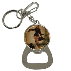 Paris Lady And French Poodle Vintage Newspaper Print Sexy Hot Gil Elvgren Pin Up Girl Paris Eiffel T Bottle Opener Key Chain