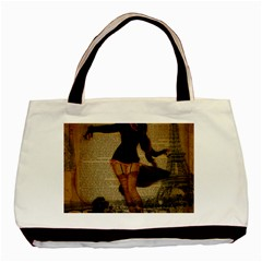 Paris Lady And French Poodle Vintage Newspaper Print Sexy Hot Gil Elvgren Pin Up Girl Paris Eiffel T Classic Tote Bag