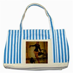 Paris Lady And French Poodle Vintage Newspaper Print Sexy Hot Gil Elvgren Pin Up Girl Paris Eiffel T Blue Striped Tote Bag