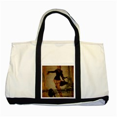 Paris Lady And French Poodle Vintage Newspaper Print Sexy Hot Gil Elvgren Pin Up Girl Paris Eiffel T Two Toned Tote Bag