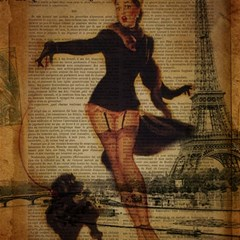 Paris Lady And French Poodle Vintage Newspaper Print Sexy Hot Gil Elvgren Pin Up Girl Paris Eiffel T Canvas 12  x 12  (Unframed)