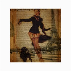 Paris Lady And French Poodle Vintage Newspaper Print Sexy Hot Gil Elvgren Pin Up Girl Paris Eiffel T Canvas 18  x 24  (Unframed)