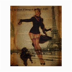 Paris Lady And French Poodle Vintage Newspaper Print Sexy Hot Gil Elvgren Pin Up Girl Paris Eiffel T Canvas 20  x 24  (Unframed)
