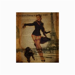 Paris Lady And French Poodle Vintage Newspaper Print Sexy Hot Gil Elvgren Pin Up Girl Paris Eiffel T Canvas 20  X 30  (unframed)