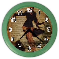Paris Lady And French Poodle Vintage Newspaper Print Sexy Hot Gil Elvgren Pin Up Girl Paris Eiffel T Wall Clock (color)