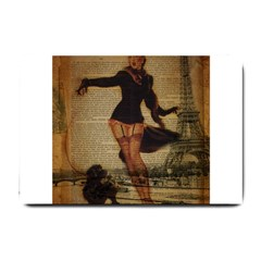Paris Lady And French Poodle Vintage Newspaper Print Sexy Hot Gil Elvgren Pin Up Girl Paris Eiffel T Small Door Mat