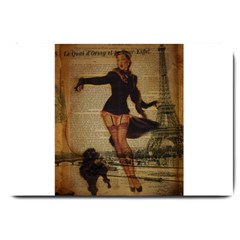 Paris Lady And French Poodle Vintage Newspaper Print Sexy Hot Gil Elvgren Pin Up Girl Paris Eiffel T Large Door Mat