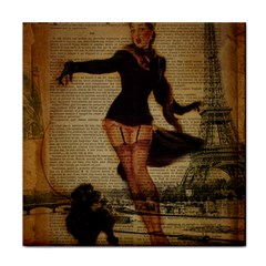 Paris Lady And French Poodle Vintage Newspaper Print Sexy Hot Gil Elvgren Pin Up Girl Paris Eiffel T Face Towel