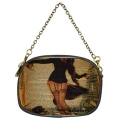 Paris Lady And French Poodle Vintage Newspaper Print Sexy Hot Gil Elvgren Pin Up Girl Paris Eiffel T Chain Purse (one Side)