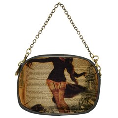 Paris Lady And French Poodle Vintage Newspaper Print Sexy Hot Gil Elvgren Pin Up Girl Paris Eiffel T Chain Purse (Two Sided)