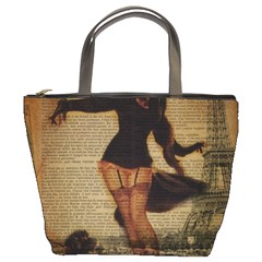 Paris Lady And French Poodle Vintage Newspaper Print Sexy Hot Gil Elvgren Pin Up Girl Paris Eiffel T Bucket Bag