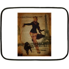 Paris Lady And French Poodle Vintage Newspaper Print Sexy Hot Gil Elvgren Pin Up Girl Paris Eiffel T Mini Fleece Blanket (Two Sided)