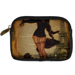 Paris Lady And French Poodle Vintage Newspaper Print Sexy Hot Gil Elvgren Pin Up Girl Paris Eiffel T Digital Camera Leather Case