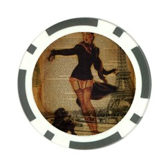 Paris Lady And French Poodle Vintage Newspaper Print Sexy Hot Gil Elvgren Pin Up Girl Paris Eiffel T Poker Chip 10 Pack