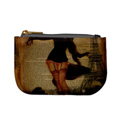 Paris Lady And French Poodle Vintage Newspaper Print Sexy Hot Gil Elvgren Pin Up Girl Paris Eiffel T Coin Change Purse
