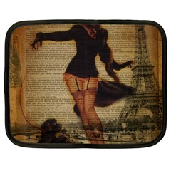 Paris Lady And French Poodle Vintage Newspaper Print Sexy Hot Gil Elvgren Pin Up Girl Paris Eiffel T Netbook Case (xl)