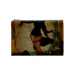 Paris Lady And French Poodle Vintage Newspaper Print Sexy Hot Gil Elvgren Pin Up Girl Paris Eiffel T Cosmetic Bag (Medium)