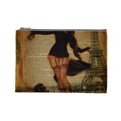 Paris Lady And French Poodle Vintage Newspaper Print Sexy Hot Gil Elvgren Pin Up Girl Paris Eiffel T Cosmetic Bag (Large)