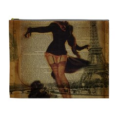 Paris Lady And French Poodle Vintage Newspaper Print Sexy Hot Gil Elvgren Pin Up Girl Paris Eiffel T Cosmetic Bag (XL)