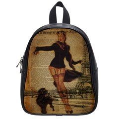 Paris Lady And French Poodle Vintage Newspaper Print Sexy Hot Gil Elvgren Pin Up Girl Paris Eiffel T School Bag (small)