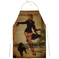 Paris Lady And French Poodle Vintage Newspaper Print Sexy Hot Gil Elvgren Pin Up Girl Paris Eiffel T Apron
