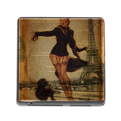 Paris Lady And French Poodle Vintage Newspaper Print Sexy Hot Gil Elvgren Pin Up Girl Paris Eiffel T Memory Card Reader with Storage (Square)