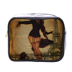 Paris Lady And French Poodle Vintage Newspaper Print Sexy Hot Gil Elvgren Pin Up Girl Paris Eiffel T Mini Travel Toiletry Bag (one Side)