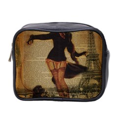 Paris Lady And French Poodle Vintage Newspaper Print Sexy Hot Gil Elvgren Pin Up Girl Paris Eiffel T Mini Travel Toiletry Bag (Two Sides)