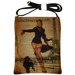 Paris Lady And French Poodle Vintage Newspaper Print Sexy Hot Gil Elvgren Pin Up Girl Paris Eiffel T Shoulder Sling Bag