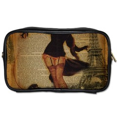 Paris Lady And French Poodle Vintage Newspaper Print Sexy Hot Gil Elvgren Pin Up Girl Paris Eiffel T Travel Toiletry Bag (Two Sides)