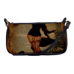 Paris Lady And French Poodle Vintage Newspaper Print Sexy Hot Gil Elvgren Pin Up Girl Paris Eiffel T Evening Bag