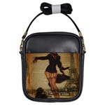 Paris Lady And French Poodle Vintage Newspaper Print Sexy Hot Gil Elvgren Pin Up Girl Paris Eiffel T Girl s Sling Bag Front