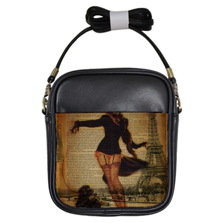 Paris Lady And French Poodle Vintage Newspaper Print Sexy Hot Gil Elvgren Pin Up Girl Paris Eiffel T Girl s Sling Bag