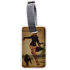 Paris Lady And French Poodle Vintage Newspaper Print Sexy Hot Gil Elvgren Pin Up Girl Paris Eiffel T Luggage Tag (Two Sides)