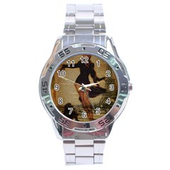 Paris Lady And French Poodle Vintage Newspaper Print Sexy Hot Gil Elvgren Pin Up Girl Paris Eiffel T Stainless Steel Watch (Men s)
