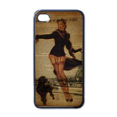 Paris Lady And French Poodle Vintage Newspaper Print Sexy Hot Gil Elvgren Pin Up Girl Paris Eiffel T Apple iPhone 4 Case (Black)