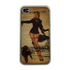 Paris Lady And French Poodle Vintage Newspaper Print Sexy Hot Gil Elvgren Pin Up Girl Paris Eiffel T Apple iPhone 4 Case (Clear)