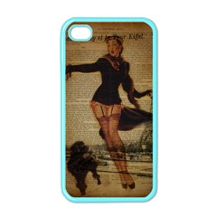 Paris Lady And French Poodle Vintage Newspaper Print Sexy Hot Gil Elvgren Pin Up Girl Paris Eiffel T Apple iPhone 4 Case (Color)