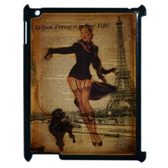 Paris Lady And French Poodle Vintage Newspaper Print Sexy Hot Gil Elvgren Pin Up Girl Paris Eiffel T Apple iPad 2 Case (Black)