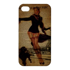 Paris Lady And French Poodle Vintage Newspaper Print Sexy Hot Gil Elvgren Pin Up Girl Paris Eiffel T Apple Iphone 4/4s Hardshell Case