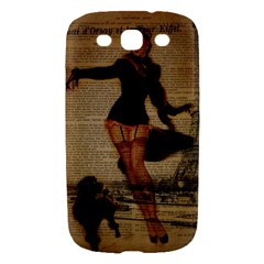Paris Lady And French Poodle Vintage Newspaper Print Sexy Hot Gil Elvgren Pin Up Girl Paris Eiffel T Samsung Galaxy S III Hardshell Case