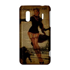 Paris Lady And French Poodle Vintage Newspaper Print Sexy Hot Gil Elvgren Pin Up Girl Paris Eiffel T HTC Evo Design 4G/ Hero S Hardshell Case